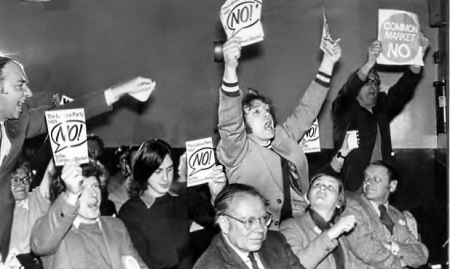 brexit post- Protesters shout against the prime minister, Harold Wilson, during a speech before the Common Market referendum vote in June 1975. Photograph Rolls PressPopperfotoGetty Images